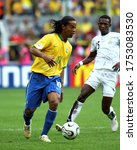 Small photo of Dortmund, GERMANY - June 27, 2006: Ronaldinho and John Paintsil in action during the 2006 FIFA World Cup Germany Brazil v Ghana at Signal Iduna Park.