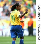 Small photo of Dortmund, GERMANY - June 27, 2006: Ronaldinho reacts during the 2006 FIFA World Cup Germany Brazil v Ghana at Signal Iduna Park.