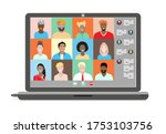conference video call with... | Shutterstock .eps vector #1753103756