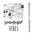 hand drawn summer quote and... | Shutterstock . vector #1753115900