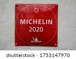 Small photo of Aarhus, Denmark June 8, 2020 A Michelin one star plaque outside a restaurant.