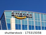 Small photo of SANTA CLARA,CA/USA - FEBRUARY 1, 2014: Amazon building in Santa Clara, California. Amazon is an American international electronic commerce company. It is the world's largest online retailer.
