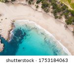Aerial view of Cala Bassa in Ibiza