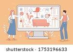 happy couple choose decoration... | Shutterstock .eps vector #1753196633