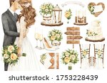 Set Of Watercolor Wedding...