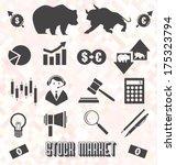 vector set  stock market icons... | Shutterstock .eps vector #175323794