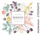 seasonal berries wreath design. ... | Shutterstock .eps vector #1753296473