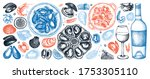 seafood and wine illustrations... | Shutterstock .eps vector #1753305110
