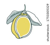 line drawing lemon. modern... | Shutterstock .eps vector #1753305329
