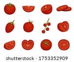tomato  red vegetable set in...   Shutterstock .eps vector #1753352909