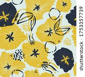 contemporary hand drawn floral...   Shutterstock .eps vector #1753357739