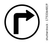 turn right sign  turn right... | Shutterstock .eps vector #1753364819