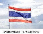 waving thai flag against blue... | Shutterstock . vector #1753396049
