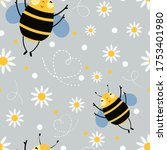 honey bee vector seamless...   Shutterstock .eps vector #1753401980