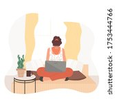 girl with laptop sitting on the ... | Shutterstock .eps vector #1753444766
