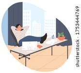 men works in office with a... | Shutterstock .eps vector #1753444769