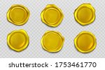 gold wax seal stamp approval... | Shutterstock .eps vector #1753461770