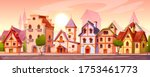 medieval town street with old... | Shutterstock .eps vector #1753461773