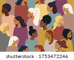 the crowd  a group of girls of... | Shutterstock .eps vector #1753472246