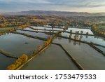 Fish breeding ponds, fish pond in Bielsko Biala, Beskid Mountains Poland Aerial drone photo