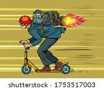 a businessman is riding a... | Shutterstock .eps vector #1753517003