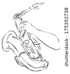 saxophone   line art | Shutterstock .eps vector #175352738