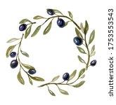 watercolor olive branch tree...   Shutterstock . vector #1753553543