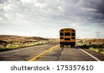 yellow school bus on the road ... | Shutterstock . vector #175357610