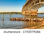 View of George P. Coleman Memorial Bridge from Yorktown Beach in Yorktown, Virginia USA
