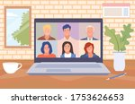 stay and work from home. video... | Shutterstock .eps vector #1753626653