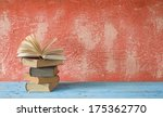 Open Book On Red Background ...