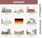 Germany. Symbols of cities. Vector set - stock vector