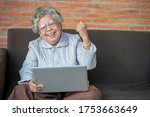 Old Woman Using Her Laptop And...