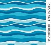 sea waves blue  white stripes... | Shutterstock .eps vector #1753707350
