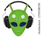 green alien head with big... | Shutterstock .eps vector #1753708739