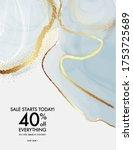 gold foil glitter marble blue... | Shutterstock .eps vector #1753725689