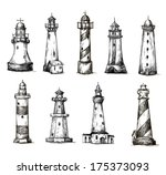 Set Of Cartoon Lighthouses....