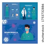 group workers wearing medical...   Shutterstock .eps vector #1753732886