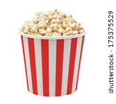 Popcorn In Striped Bucket...