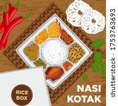 nasi kotak  rice box  catering... | Shutterstock .eps vector #1753763693