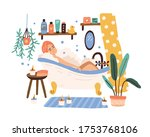 relaxed woman lying at cozy... | Shutterstock .eps vector #1753768106
