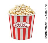 popcorn in striped bucket on... | Shutterstock . vector #175380770