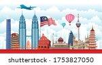 Vector design Ilustration of city of Malaysia landmark, Kuala Lumpur and flag. Malaysia Travel concept.