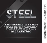 steel font and numbers  eps 10... | Shutterstock .eps vector #175385744