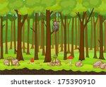 cartoon forest background vector   Shutterstock .eps vector #175390910