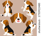 set of flat colored beagle... | Shutterstock .eps vector #1753922480