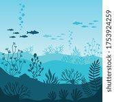 marine underwater life....   Shutterstock . vector #1753924259