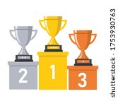 trophy number one two three on... | Shutterstock .eps vector #1753930763