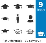 vector black academic cap icons ...