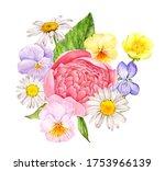 watercolor drawing wild flowers ...   Shutterstock . vector #1753966139